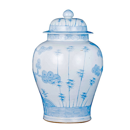 Blue And White Ming Pine Tree Temple Jar