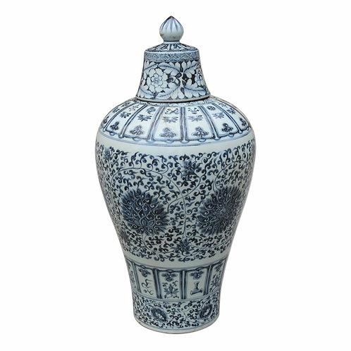 Blue & White Porcelain Ming Lidded Plum Vase Twisted Lotus Motif