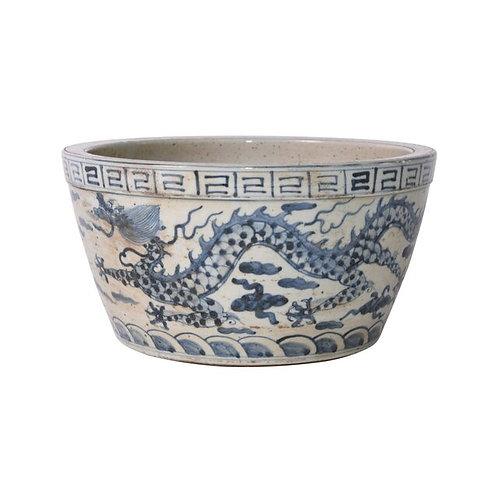 Blue And White Ming Dragon Phoenix Basin Planter