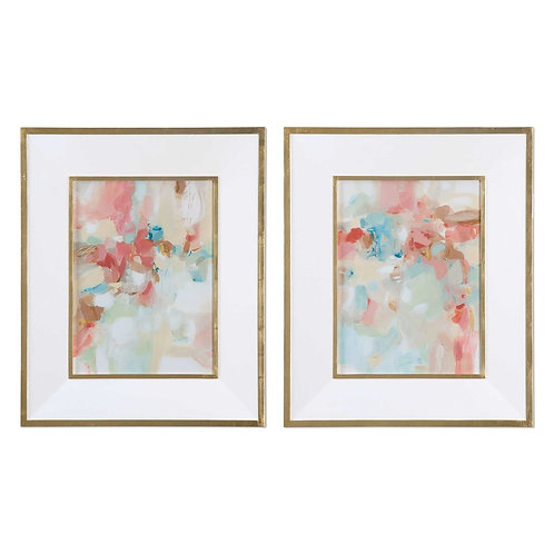 A TOUCH OF BLUSH AND ROSEWOOD FENCES FRAMED PRINTS S/2