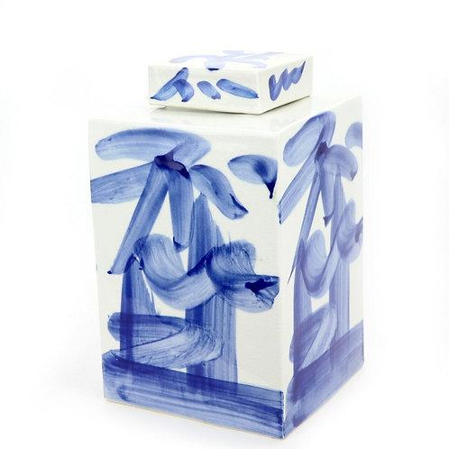 Blue And White Brushstroke Square Tea Jar