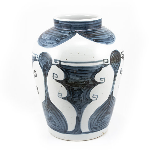 Blue And White Abstract Painting Jar