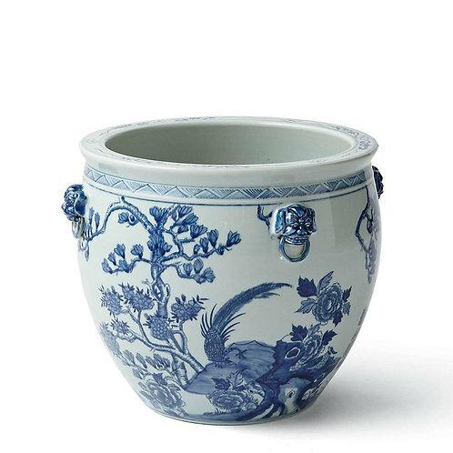 Blue And White Porcelain Magnolia Pheasant Planter Lion Handle Small