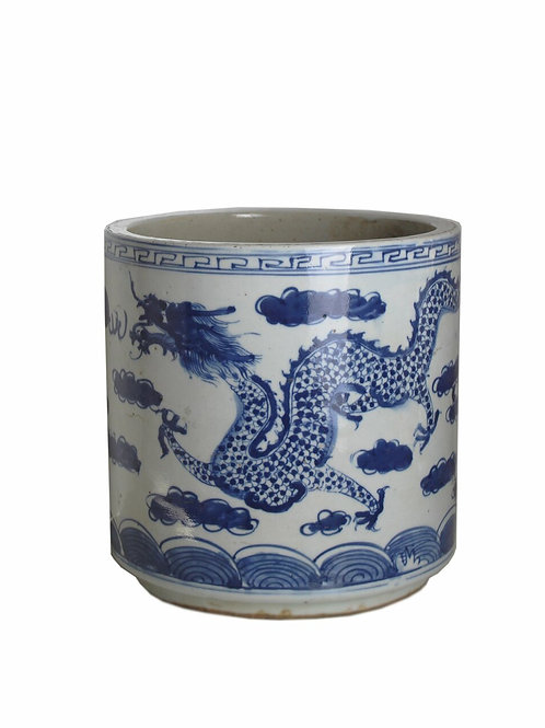 Blue And White Orchid Pot Dragon Sea Wave