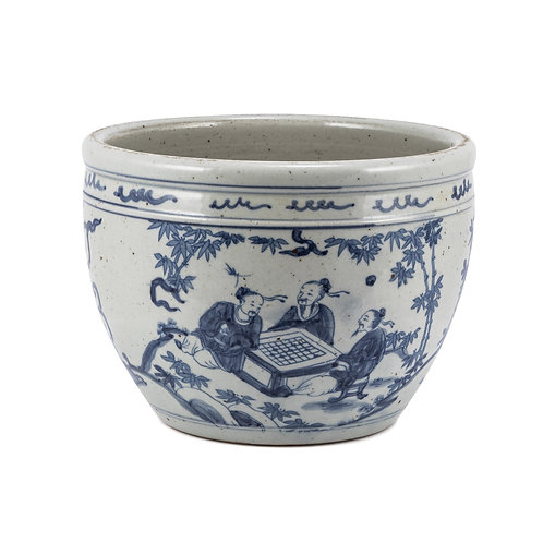 Blue And White Porcelain Pot With Seven Sages of Bamboo Groove
