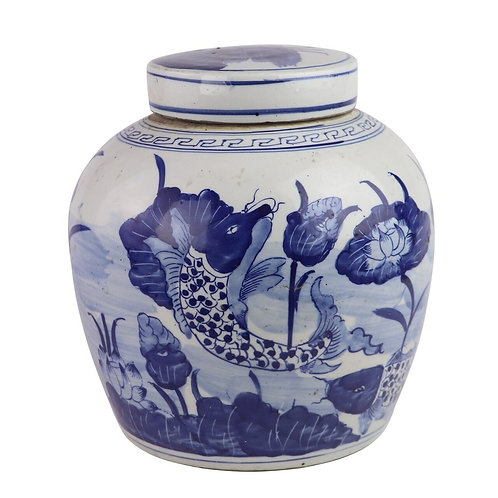 Blue And White Ming Jar Fish With Lily Pad