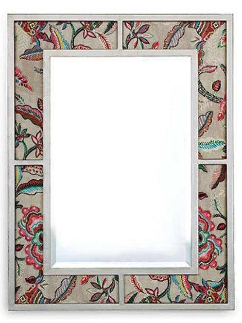 Bedford Silver Mirror W/ Sloane Fabric