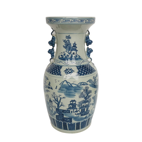 Blue And White Landscape Vase With Squirrel Handles
