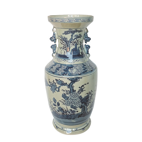 Blue And White Flower Tree Vase With Squirrel Handles