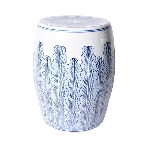 Blue And White Porcelain Banana Leave Garden Stool