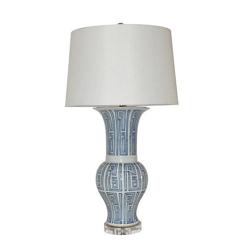 Blue And White Siam Symbol Ballaster Vase Lamp