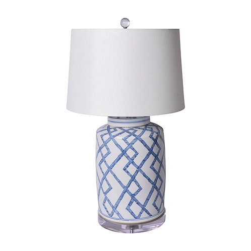 Blue And White Bamboo Tea Jar Table Lamp