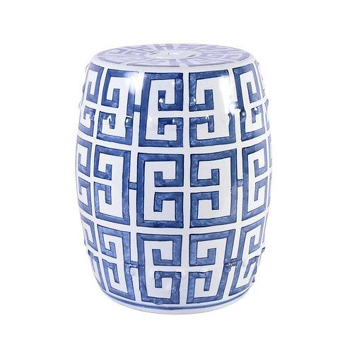 Blue and White Greek Key Porcelain Garden Stool