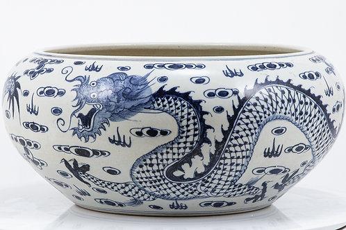 Blue And White Shallow Bowl Dragon Motif - Large