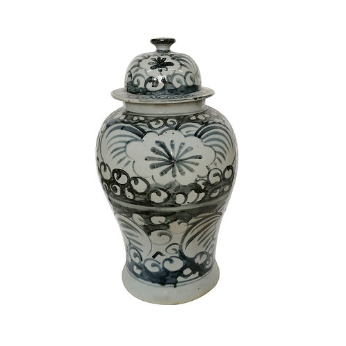 Blue And White Sea Flower Temple Jar Small