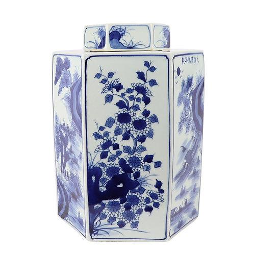 Blue And White Hex Village Flower Jar