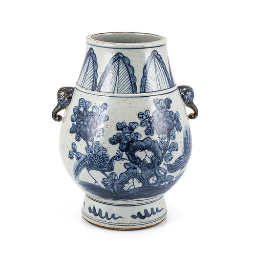 Blue And White Porcelain Pheasant Flower Jar With Elephant Nose Handle