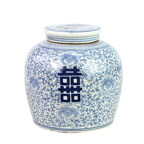Blue And White Ming Jar Double Happiness