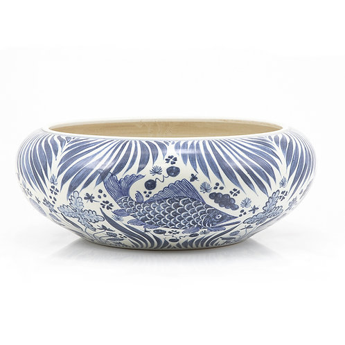 Blue And White Shallow Bowl Fish Motif