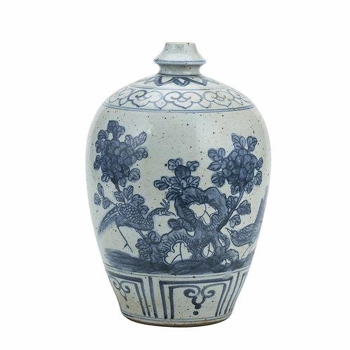 Blue And White Garlic Head Vase Flower Bird Motif