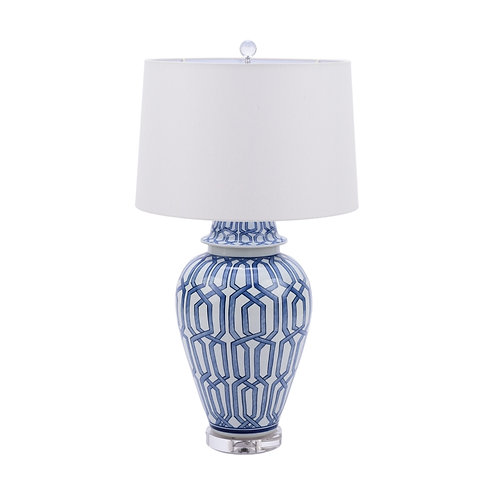 Blue and White Cross Diamond Table Lamp