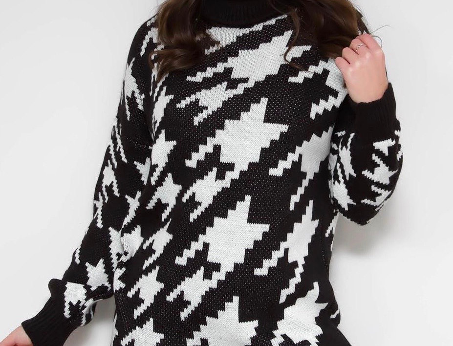 Dog Tooth Print Jumper