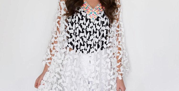 White Lace Detail Kaftan