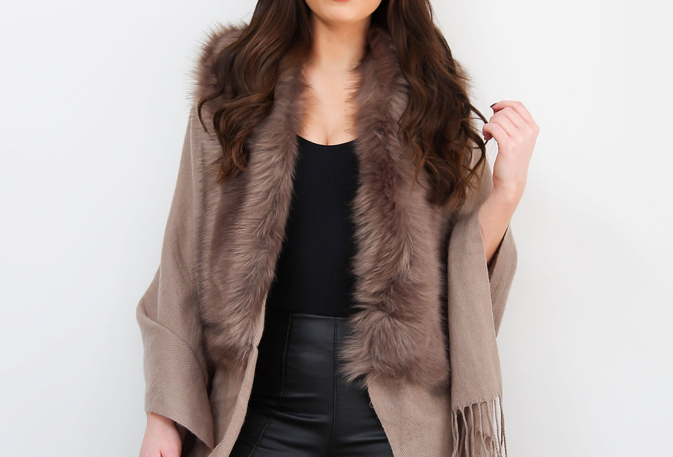 Brown Faux Fur Collar Poncho