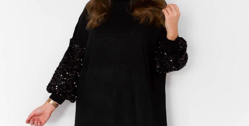Black Glitter Sleeve Jumper Dress