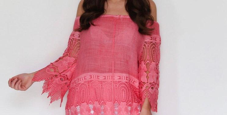 Pink Lace Detail Bardot Top