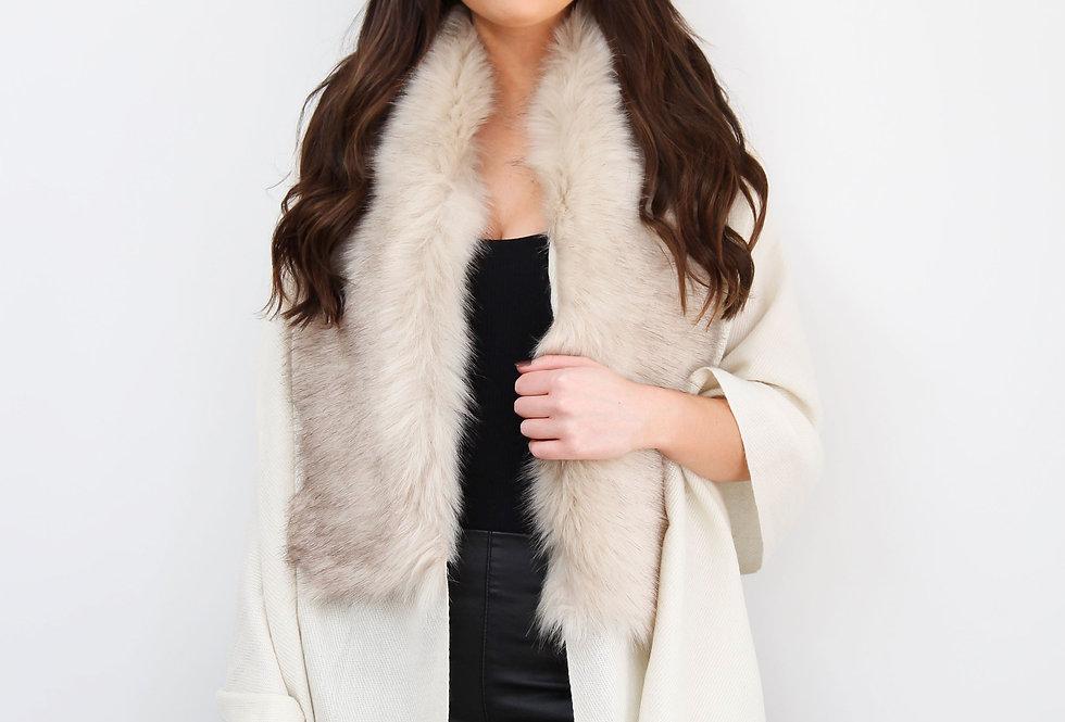 Cream Faux Fur Collar Poncho