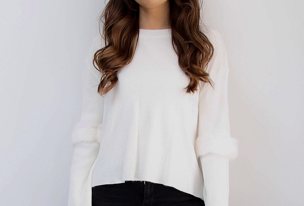 White Fur Elbow Jumper