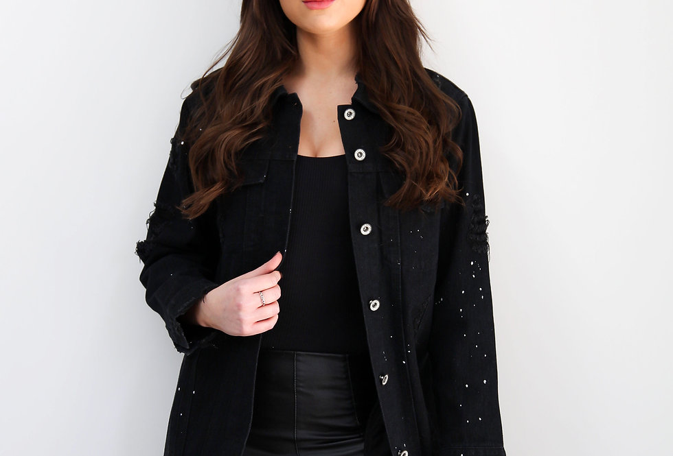 Long Black Denim Jacket With Distressed Detail