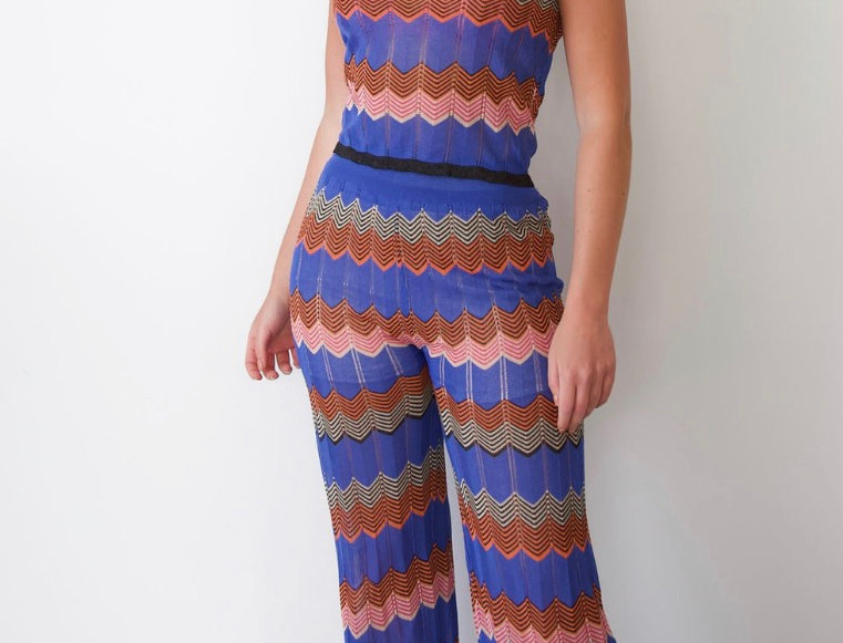 Blue striped two piece