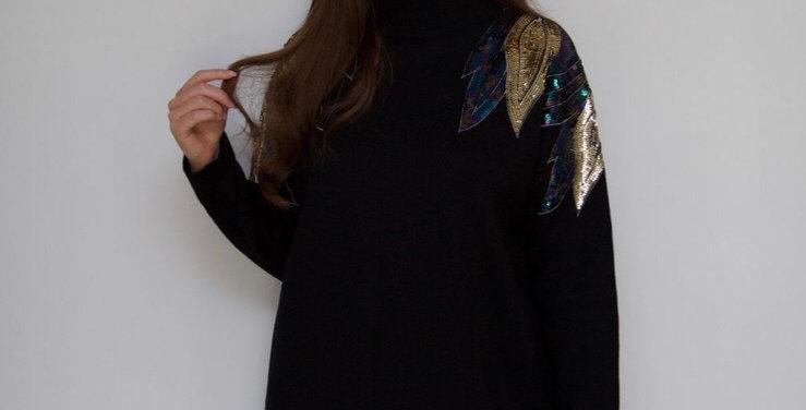 Black Sequin Shoulder Jumper