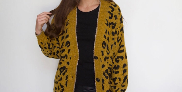 Mustard Leopard Print Cardigan