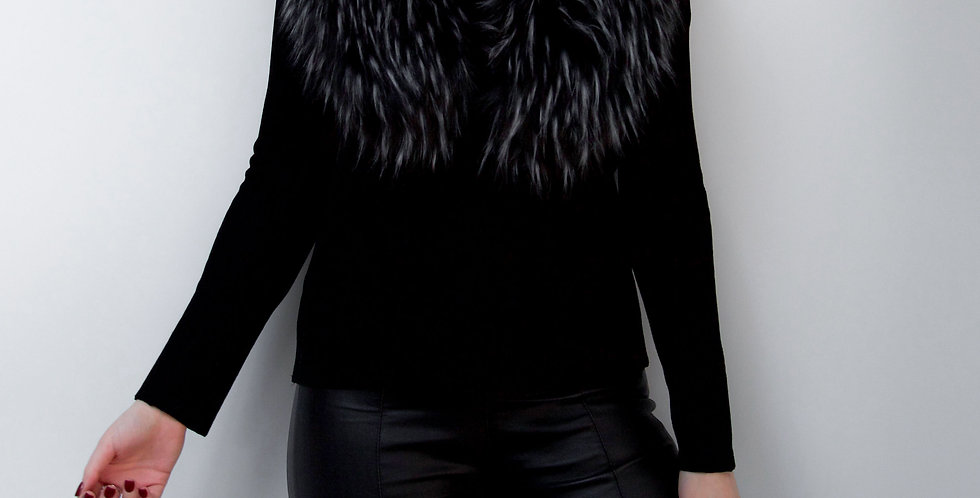 Black And White Faux Fur Collar