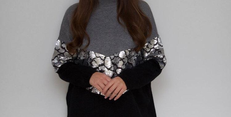 Black/Grey Sequin Detail Jumper