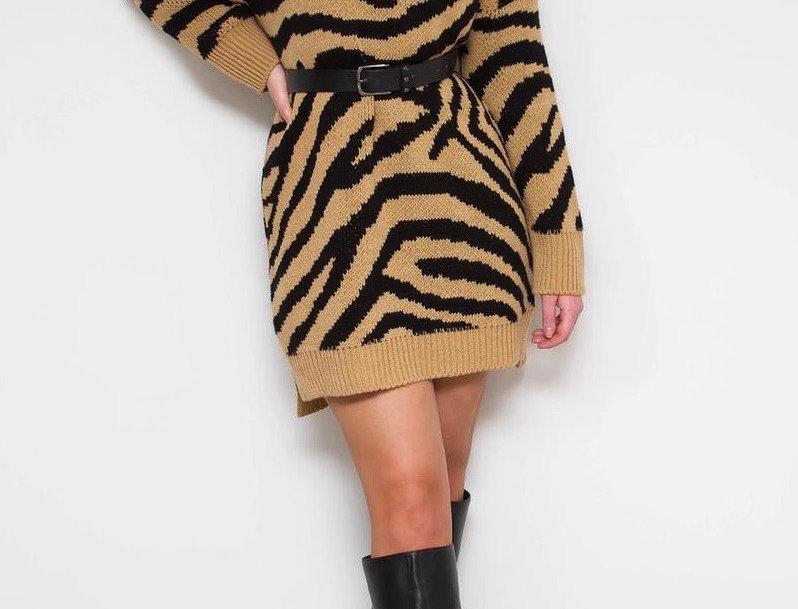 Beige Zebra Print Jumper Dress