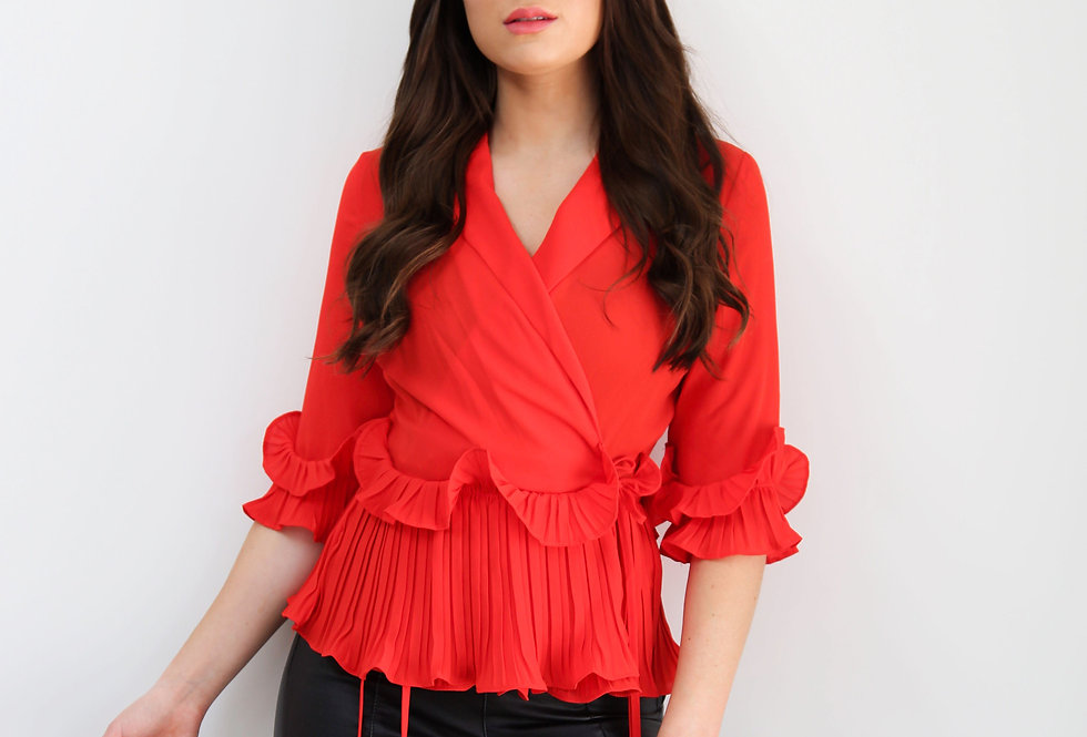 Red Frill Blouse With Ruffle Detail