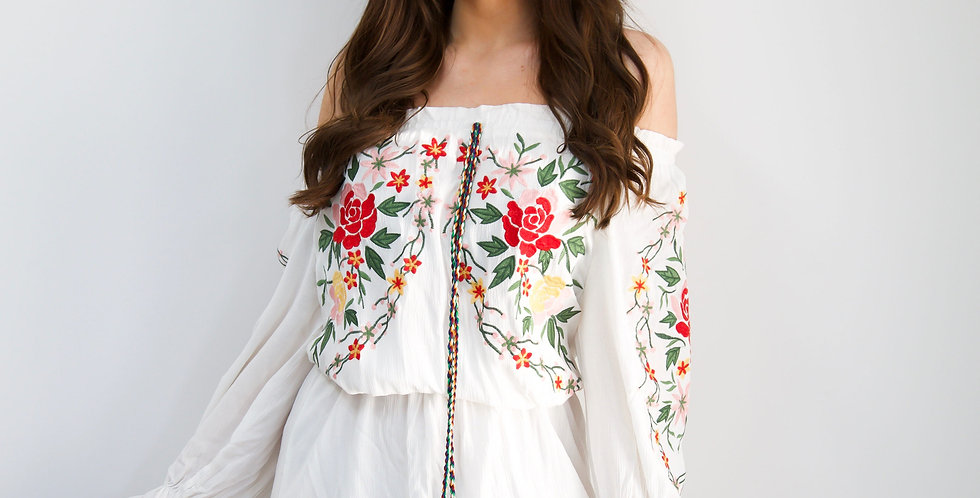 White Boho Floral Embroidered Dress With Pom Pom Tassels
