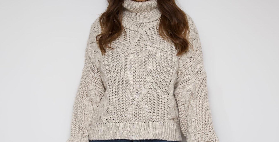 Beige Roll Neck Knit Jumper