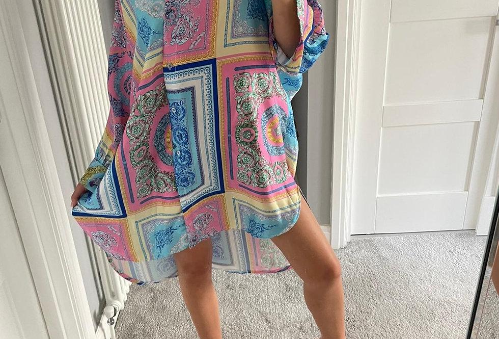 Pink & Blue Multi Print Shirt Dress