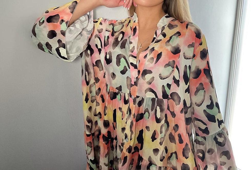 Pink Rainbow Leopard Print Dress