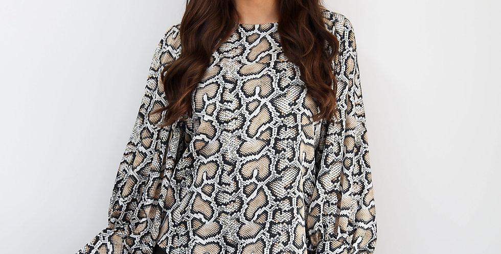 Snake Print Long Sleeve Blouse