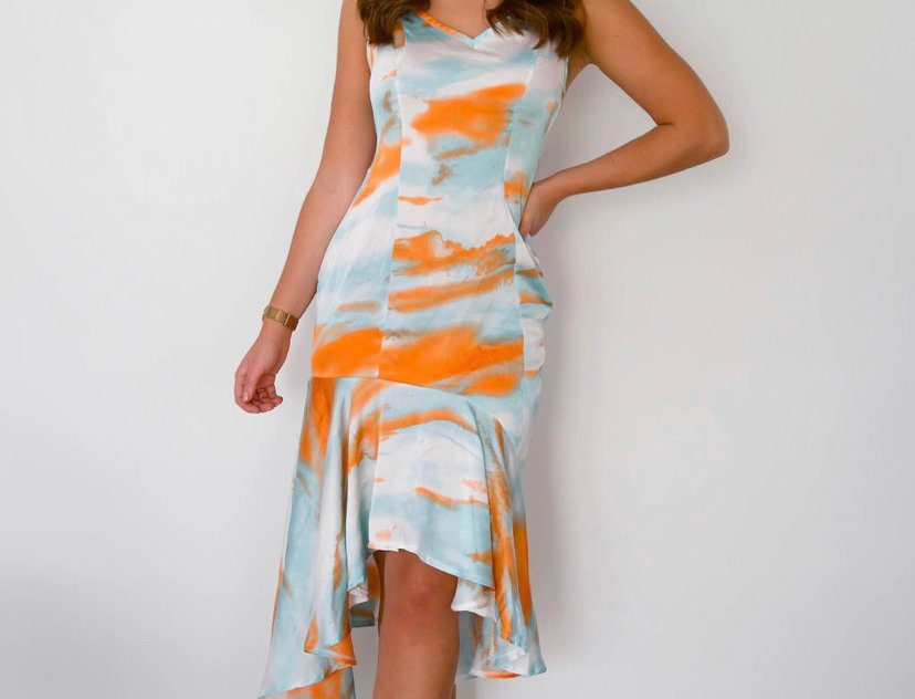 Blue & Orange Tie Dye Dress