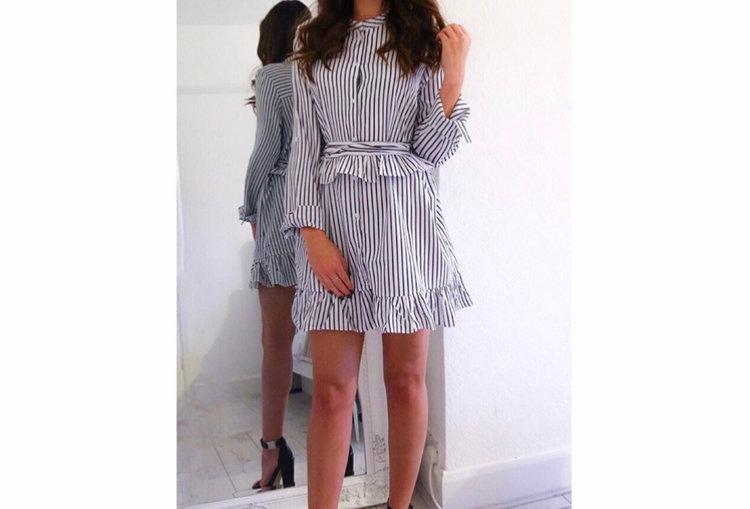 Black striped pleated dress