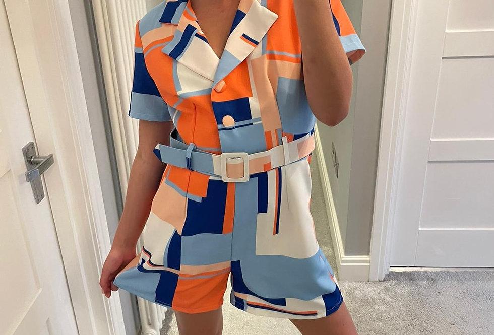 Blue & Orange Block Print Playsuit