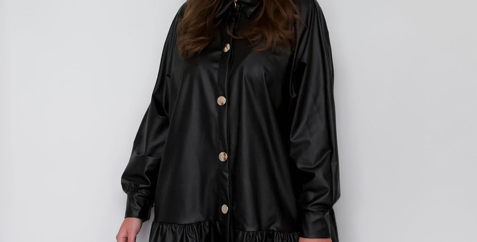 Leather Look Buttoned Blouse