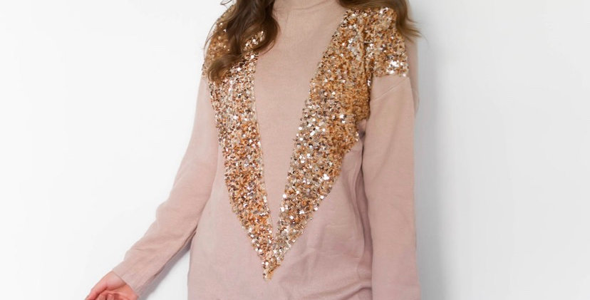 Gold Glitter Jumper Dress